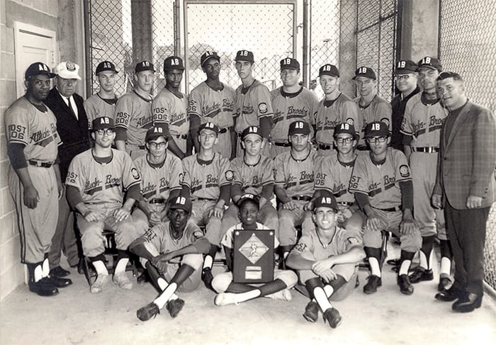 Attuck Brooks American Legion State Champions 1968. Standing fifth and sixth from the left in the back row are Steve and Dave Winfield; standing at far right is Coach Bill Peterson. Courtesy Bill Peterson