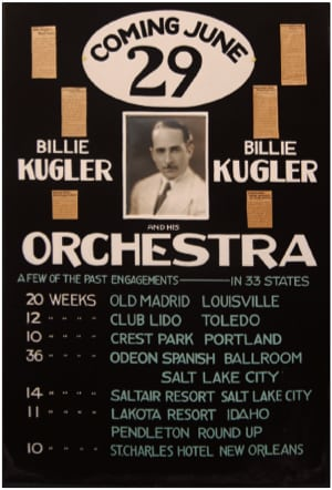 A Billie Kugler Orchestra posterPhoto courtesy of the Schubert Club