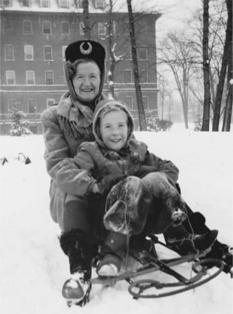 Laurie and her mother, Alison Jackson, sledding in Saint PaulPhoto courtesy Laurie Gustafson