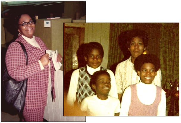Muriel Tate (left) and her children (back row, l-r): Earl Jr. and Michael; (front row, l-r) Terrance and Paul in 1974. Not pictured: Lonetta and Raymond. Photo courtesy of Muriel Tate