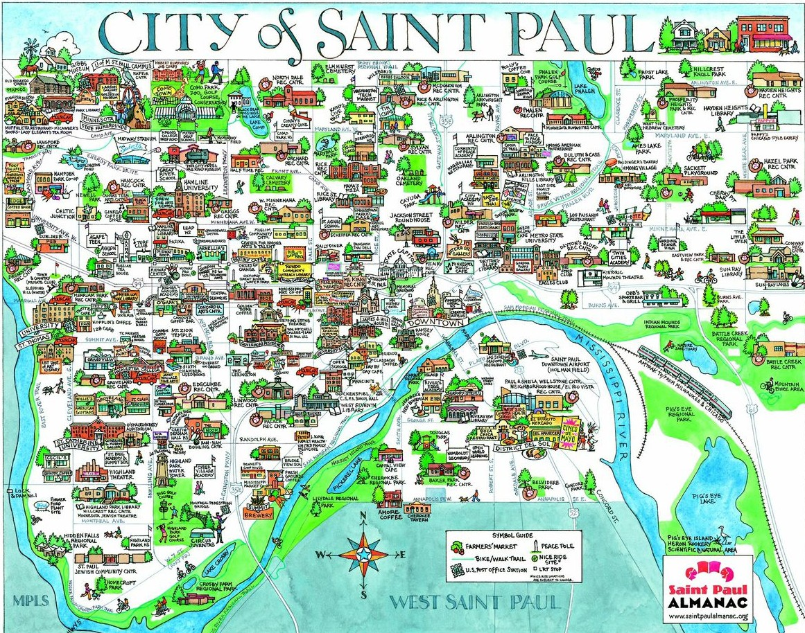 Handdrawn color maps of the City of Saint Paul and Downtown Saint