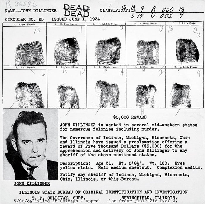 Booking sheet for John Herbert Dillinger, circa 1934 Courtesy Minnesota Historical Society/mnhs.org