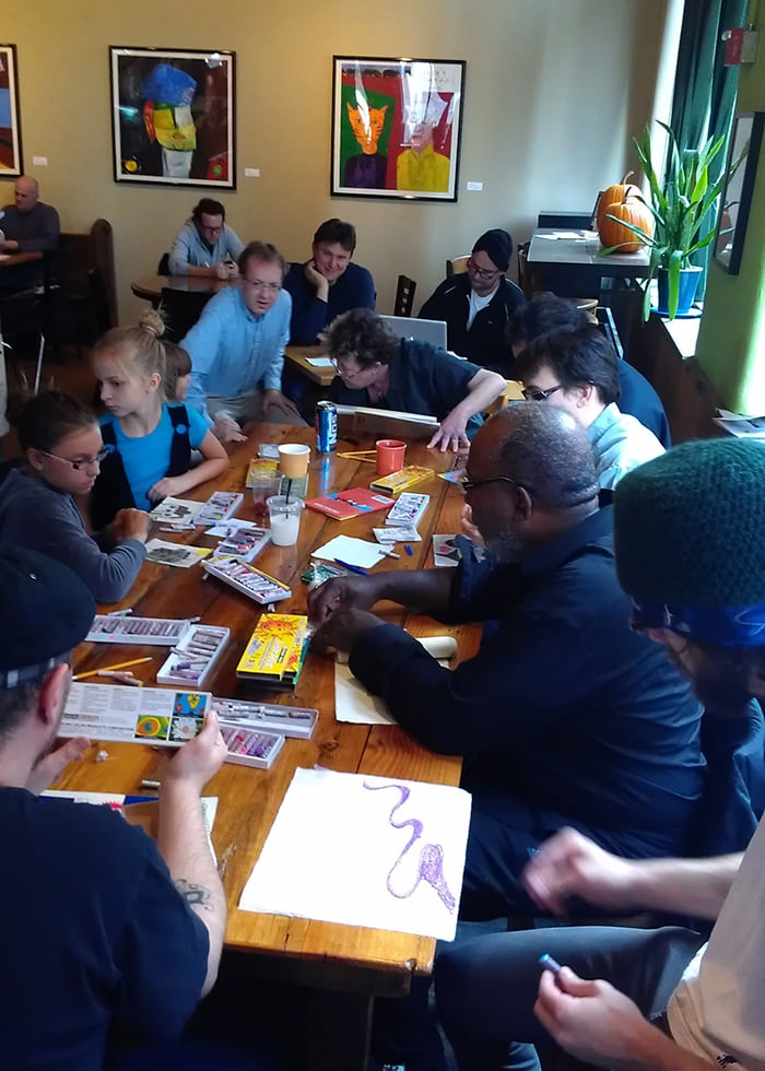 The Drawing Circle led by local artists Lisa Mathieson and Ta-coumba Aiken