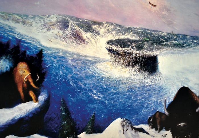 A vision in a painting at the Science Museum of the Glacial River Warren Falls, where the city courthouse stands today. Photo courtesy Diego Vázquez Jr.