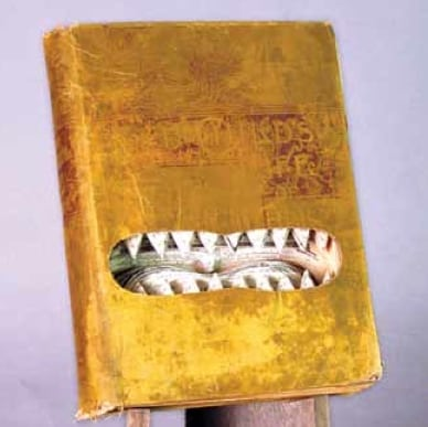 the Jaws Of Christ, an altered-book sculpture created by Joshua hosterman from hesba Stretton's 1891 tome, the Child's life of Christ.